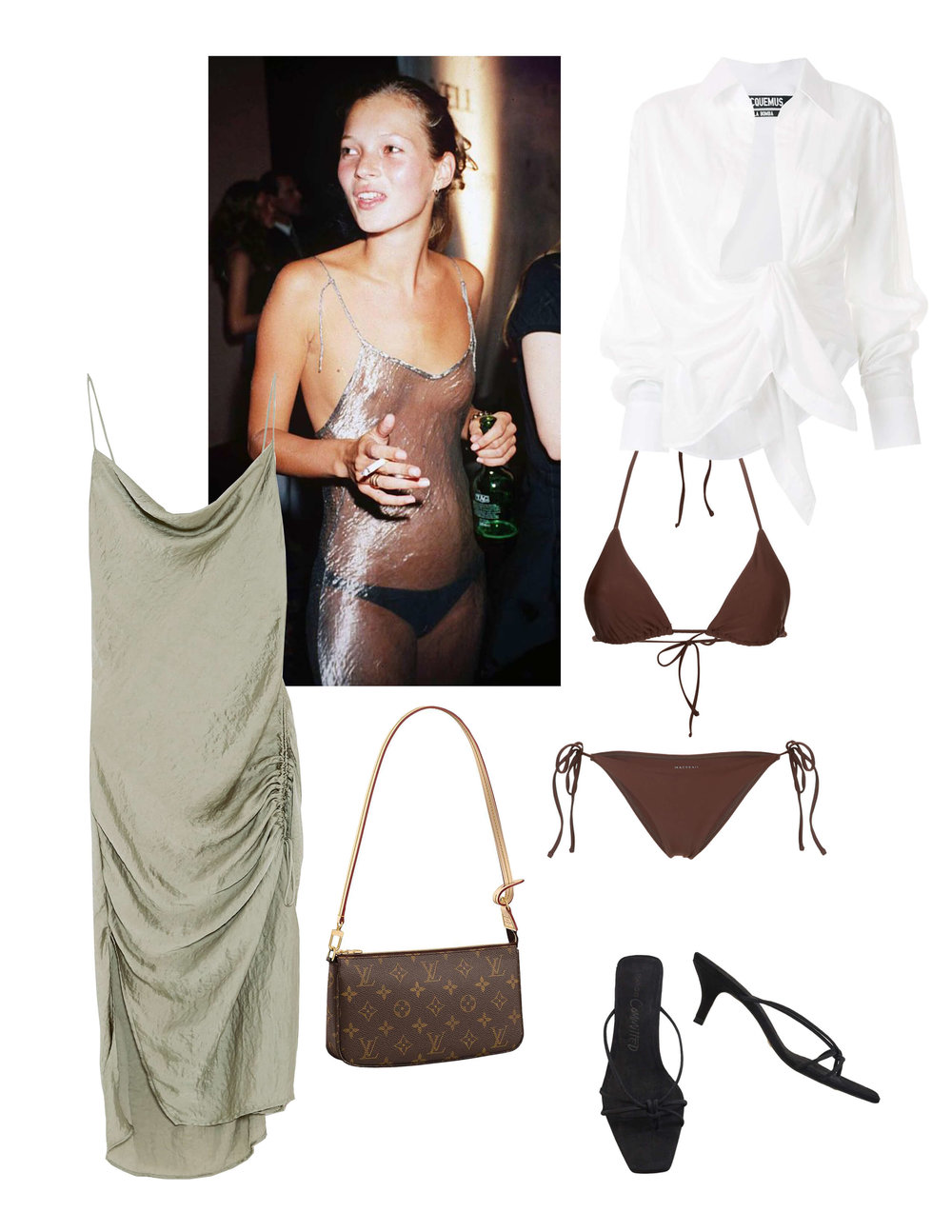 Zara  ruches lingerie style dress  | Louis Vuitton  pochette accessories  purse | Jacquemus   La Chemise Bahia blouse  | Matteau bikini  top  and  bottom  | Mango  leather sandals