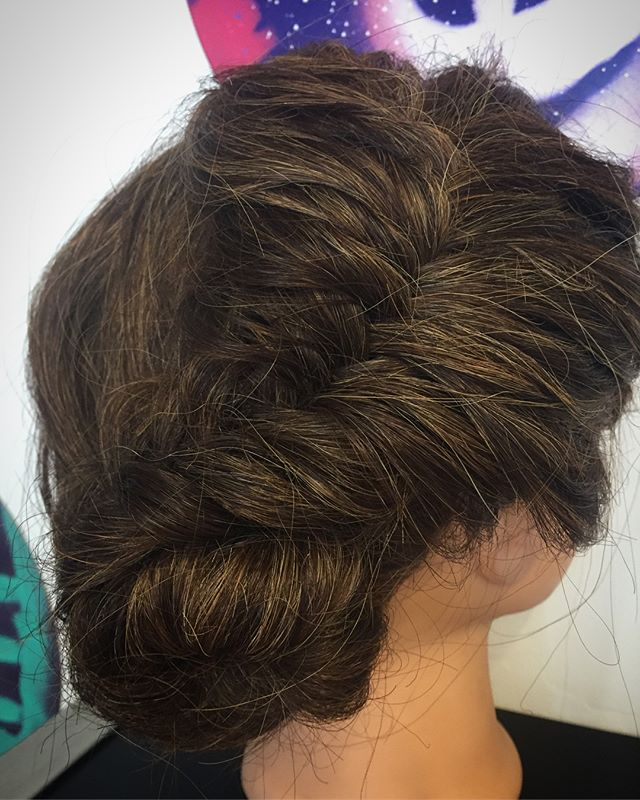 We have #newtalent here at The Studio ! @shan_ann_216 was working on her updos yesterday ! #fishtailbraid #braidedupdos #updos #thestudio