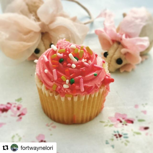 Makes my world to know our dear friend @fortwaynelori had a happy birthday yesterday, and that she had two dear mousies to help her celebrate🎉 Sending much love to you, sweet girl! 🌸🐭🐭🎀🌸xoxo #elizathemouse™  #babymouse #handmade #handstitched #ooak #birthday #cupcakes #earthangelstudiosdotcom @jensearthangels #christiejonesray® #toyphotography #livethelittlethings