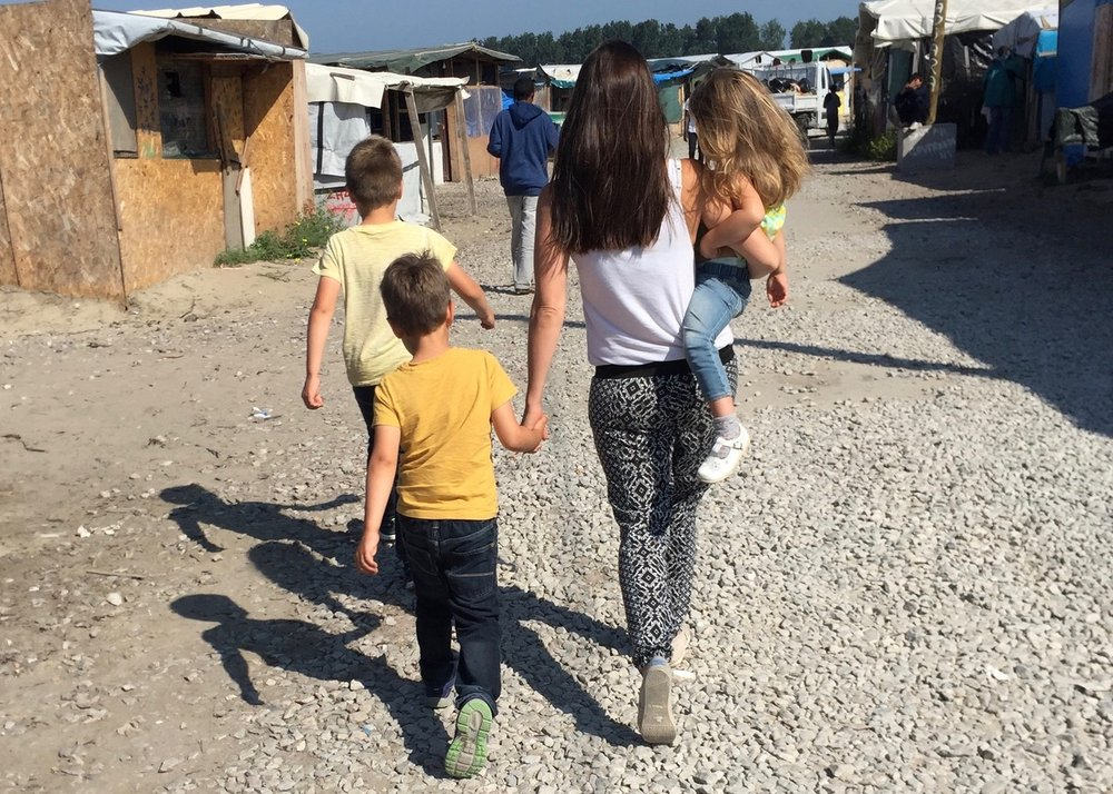 Heading into the Calais refugee camp