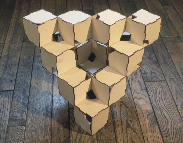 Richard Kallweit, Escher's Ladder,1983,laser cut plywood,12 x 12 x 12 in