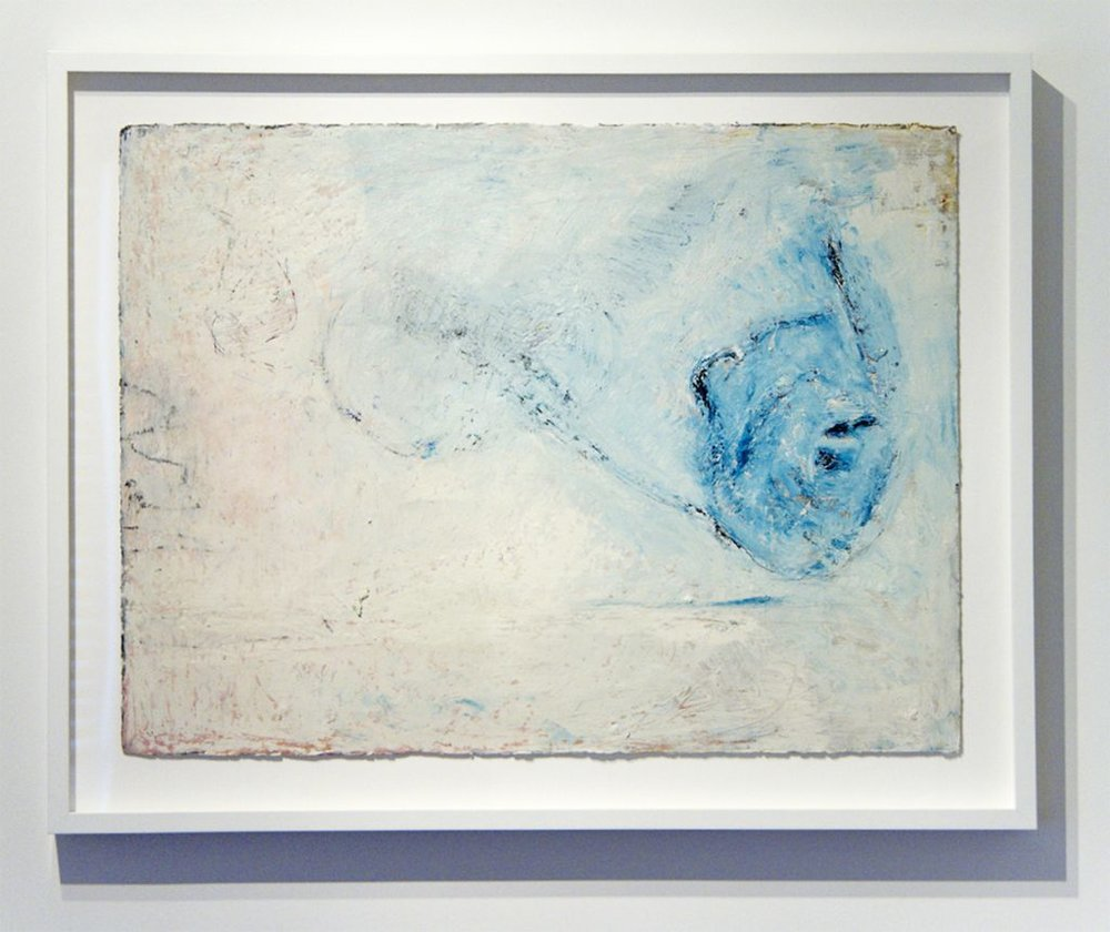 Margaret Neumann, Blue Leaving White, 2016, oil stick on paper, 22 x 30 in