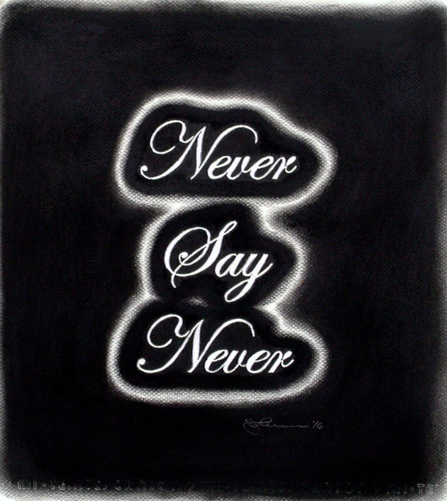 Jim Johnson, Never Say Never, 2016, charcoal on Canson, 14 x 12.75 in