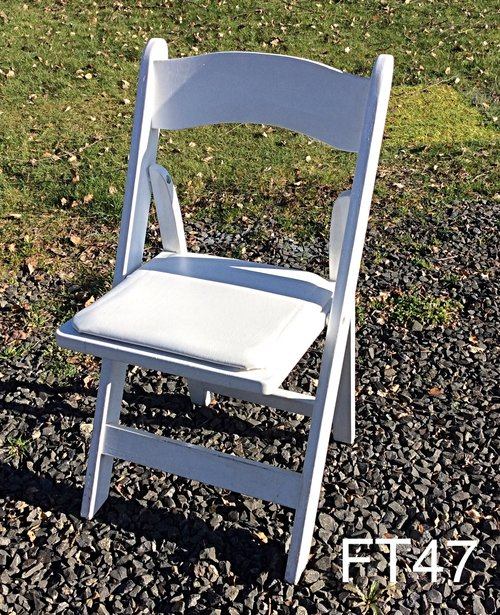white resin padded ceremony chairs glass slipper rentals