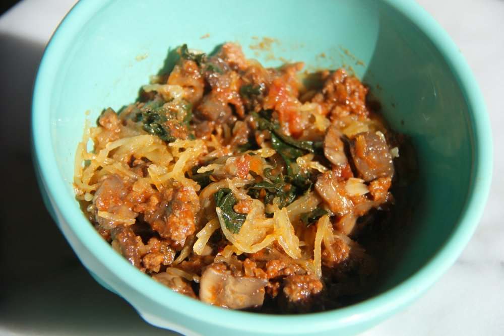 spaghetti-squash-ground-beef-kale-mushroom-bolognese