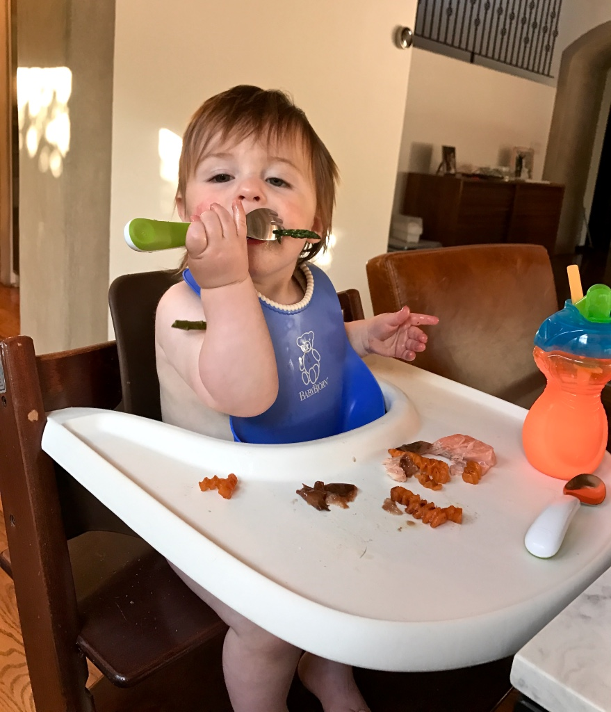 Success eating asparagus with a fork (12 months)!