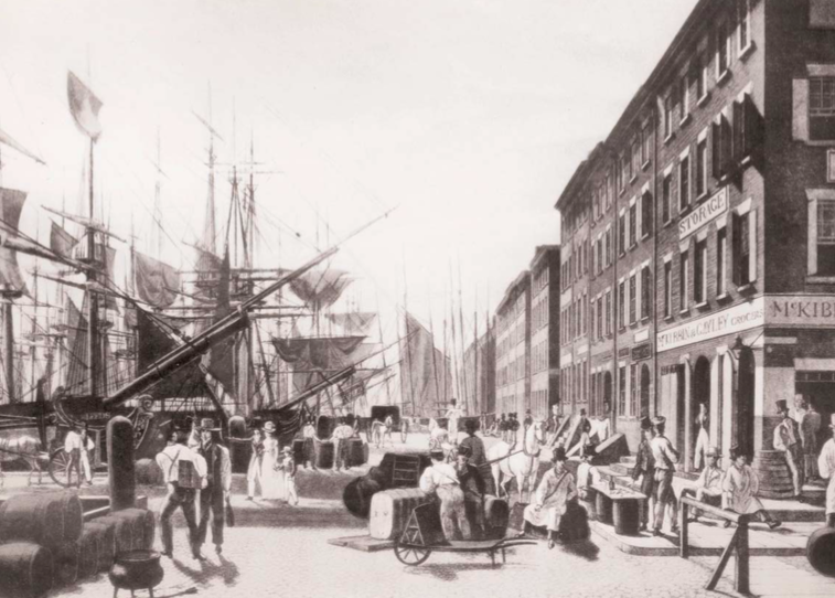 19th century water- front scene, looking south on South Street.