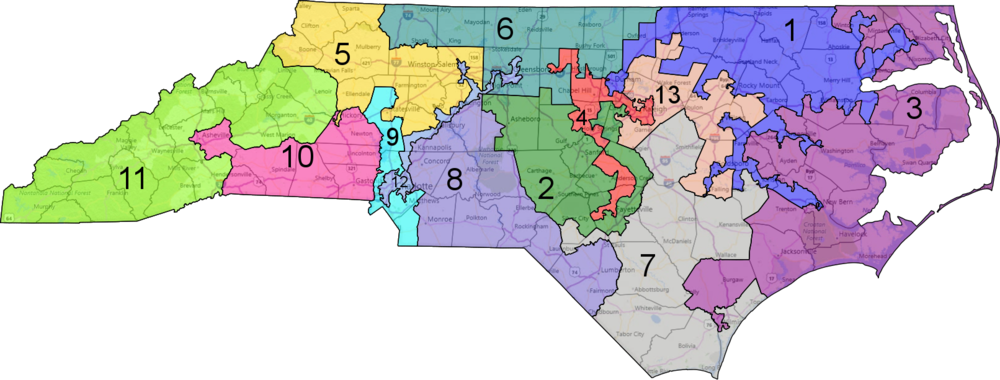 North Carolina's congressional map. Notice how the 4th Congressional District branches into separate arms that combine progressive Chapel Hill with Raleigh to the east and Fayetteville to the south. Source: DailyKos