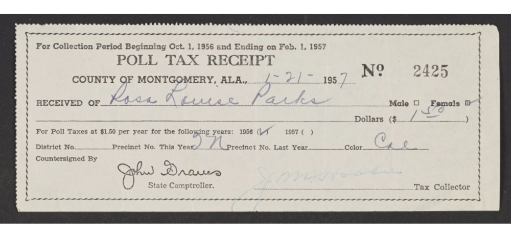 Rosa Parks's poll tax receipt. Montgomery County, Alabama, 1957.