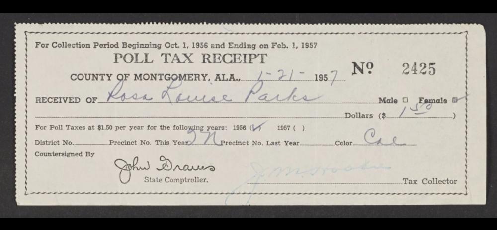 Rosa Parks's poll tax receipt. Montgomery County, Alabama, 1957.