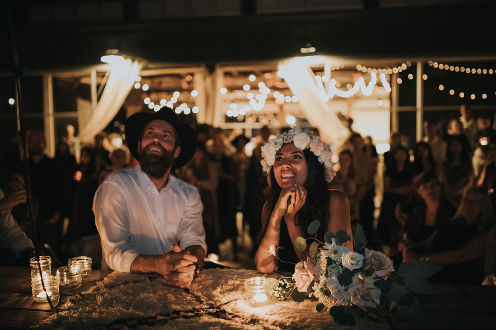 A night time wedding ceremony at Performance Works on Granville Island