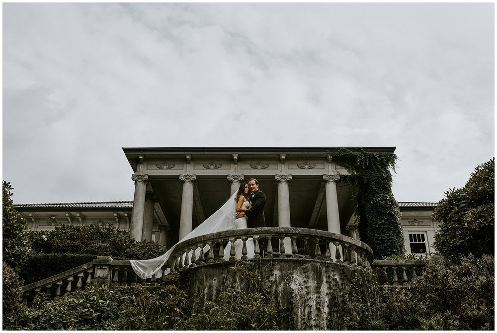 Bride and Groom on the terrace at Hycroft Manor