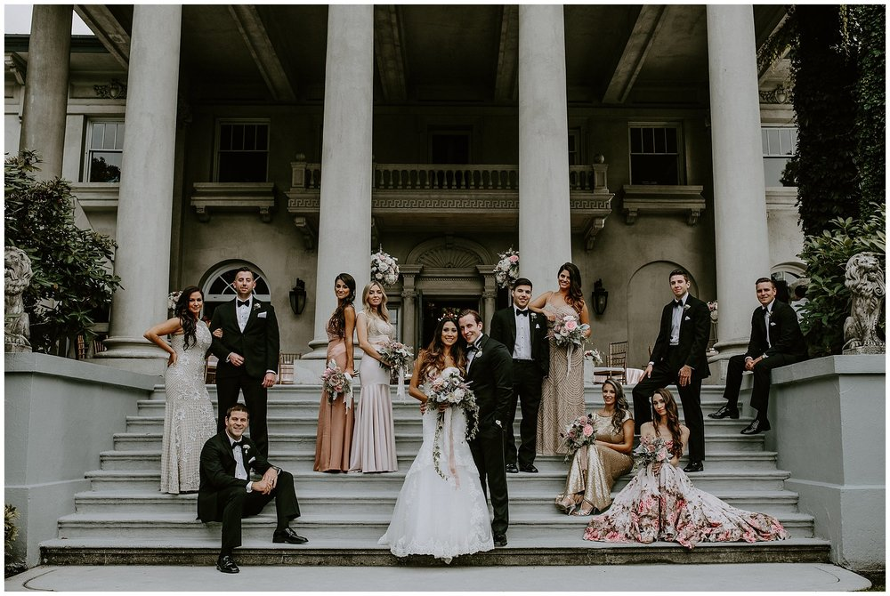 Vanity Fair inspired bridal party photo on the terrace at Hycroft Manor