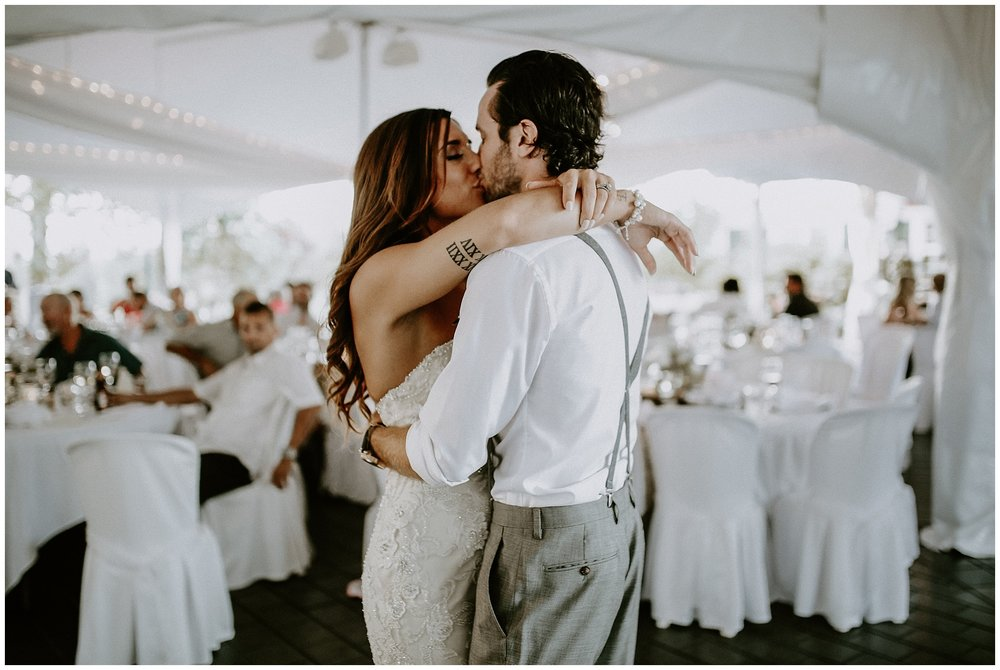 Frist dance in the tent at Redwoods Golf Course, Langley