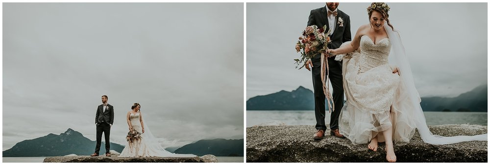 Photos by the ocean from a wedding at Furry Creek Golf