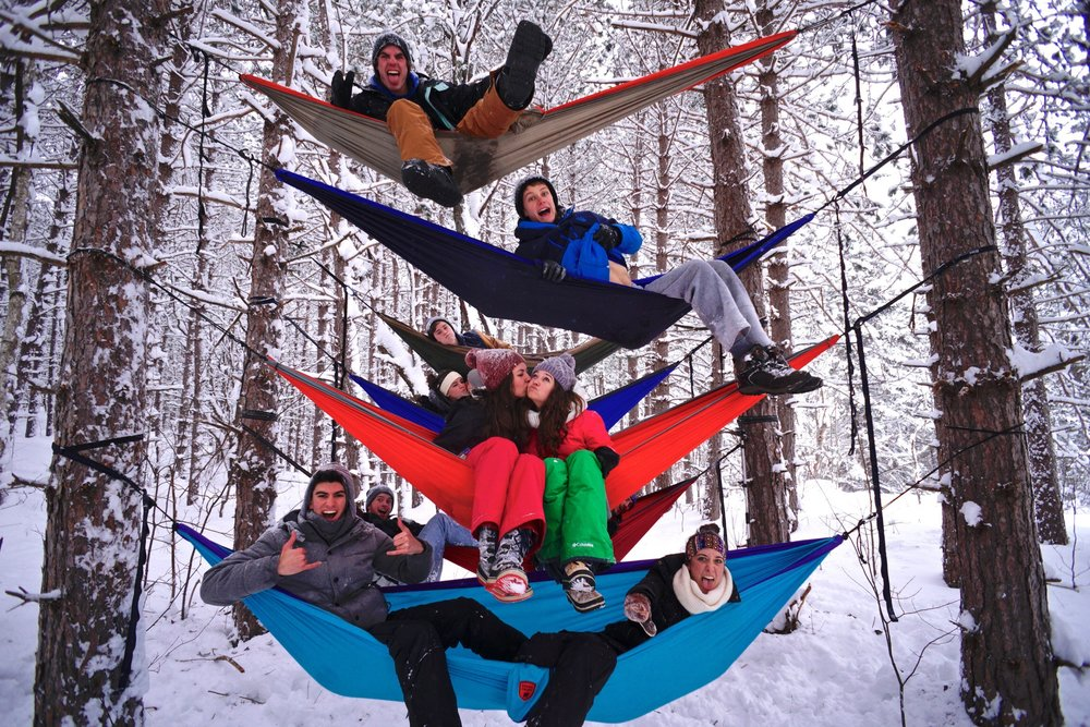 """Hammocking in the middle of winter with some of my closest friends"" -Double Vision Imaging"
