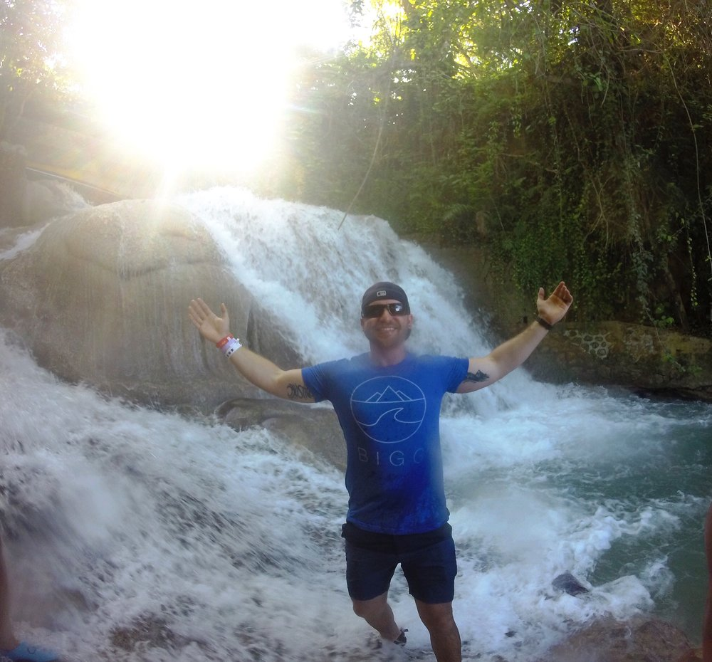 """Getting my feet wet in a Jamaican waterfall"" -Josh"