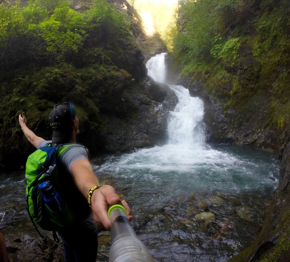 """Feeling the mist from a 40 foot waterfall in the middle of Alaska"" -CB"