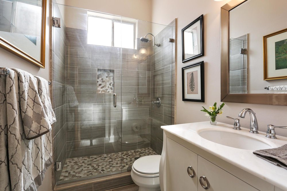 Bathroom with modern glass standing shower
