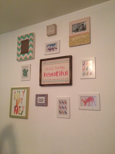 A friend's collage for her nursery that I hung for her.