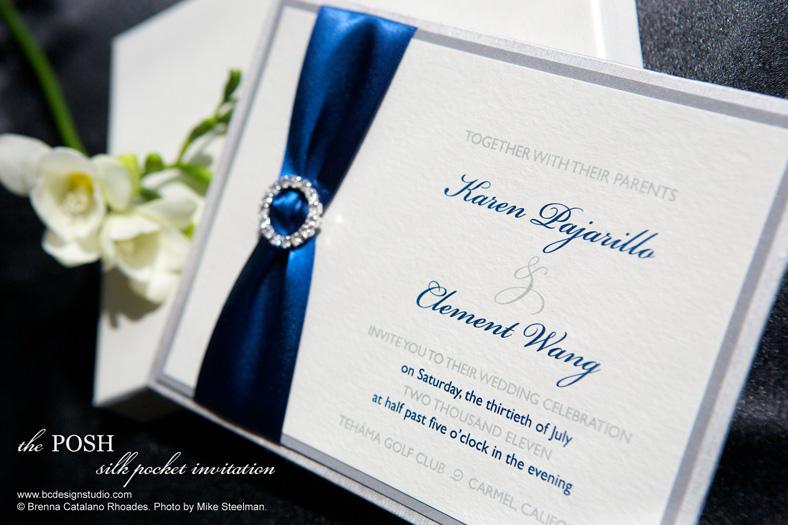 Invitation gallery brenna catalano design studio elegant the posh silk pocket invitation stopboris Images