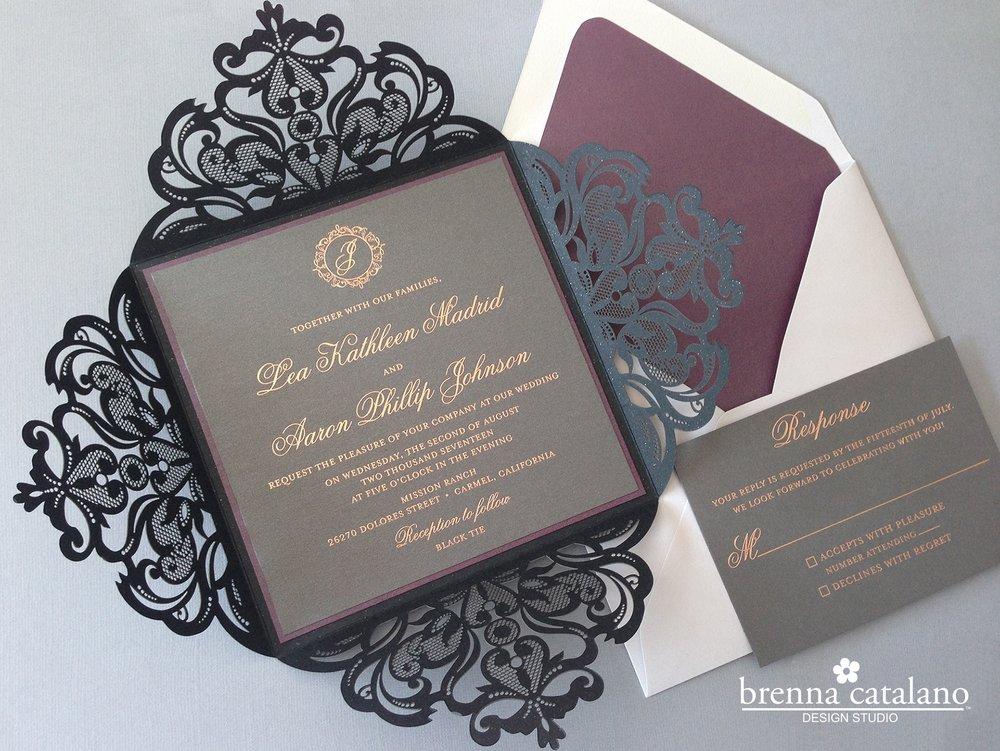 Invitation gallery brenna catalano design studio elegant custom rose gold laser cut invitation stopboris Images