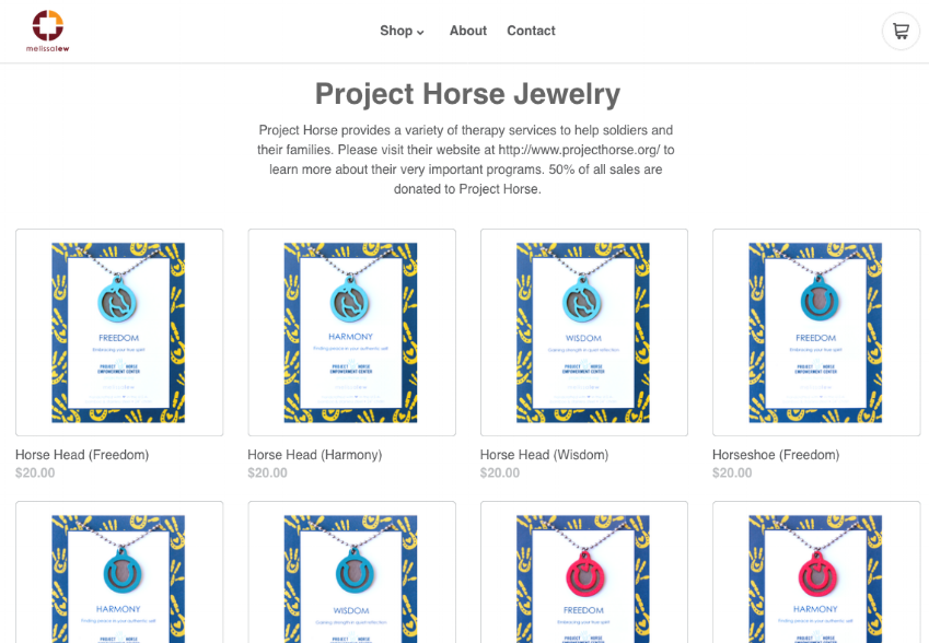 Click to view pendants on Melissa Lew's site. Scroll down for the special, custom designs that support Project Horse!