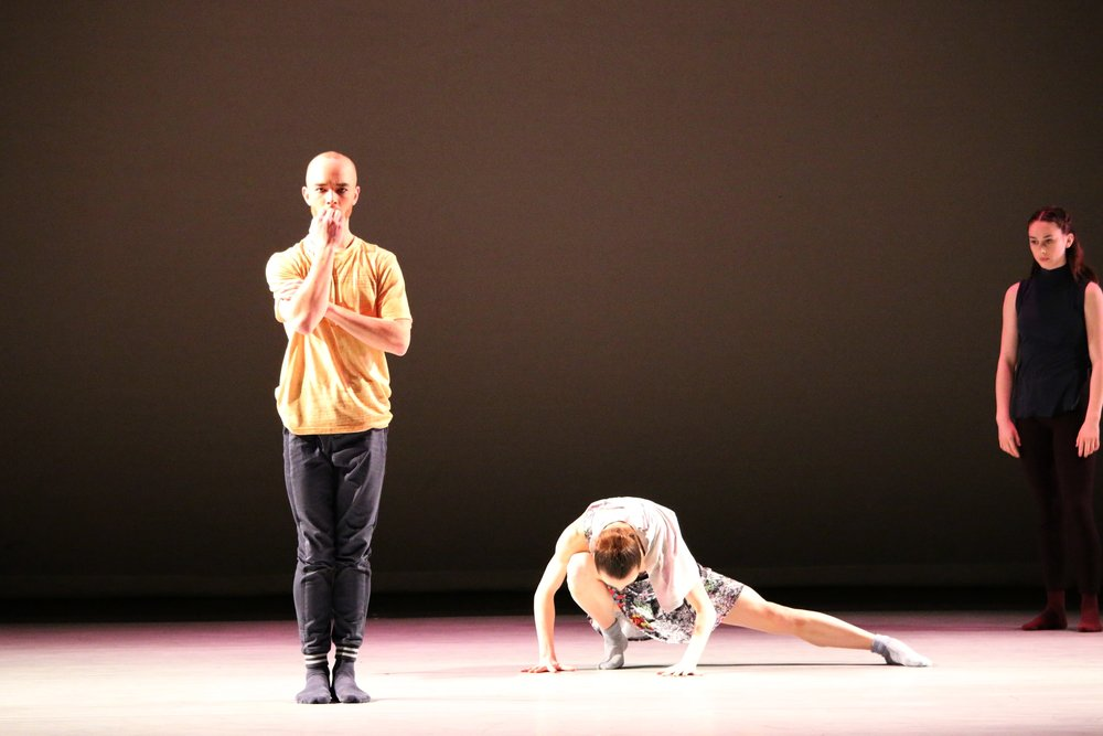 Valentin Chou, Heather Thompson and Desirée Bortolussi in  Now, What, Like, When  (Ballet Kelowna). Photo by Simone Orlando