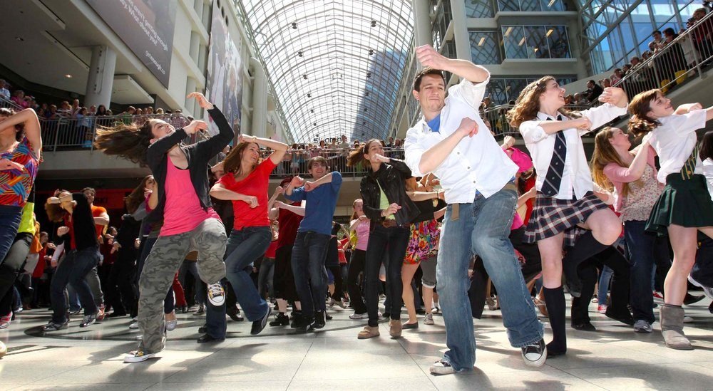 Over 300 members of The National Ballet School community participate in a dance flash mob at Toronto's Eaton Centre, choreographed by Matjash Mrozewski. Set to a remix of Feist's single,  I Feel It All.  Photo courtesy of Sun Media