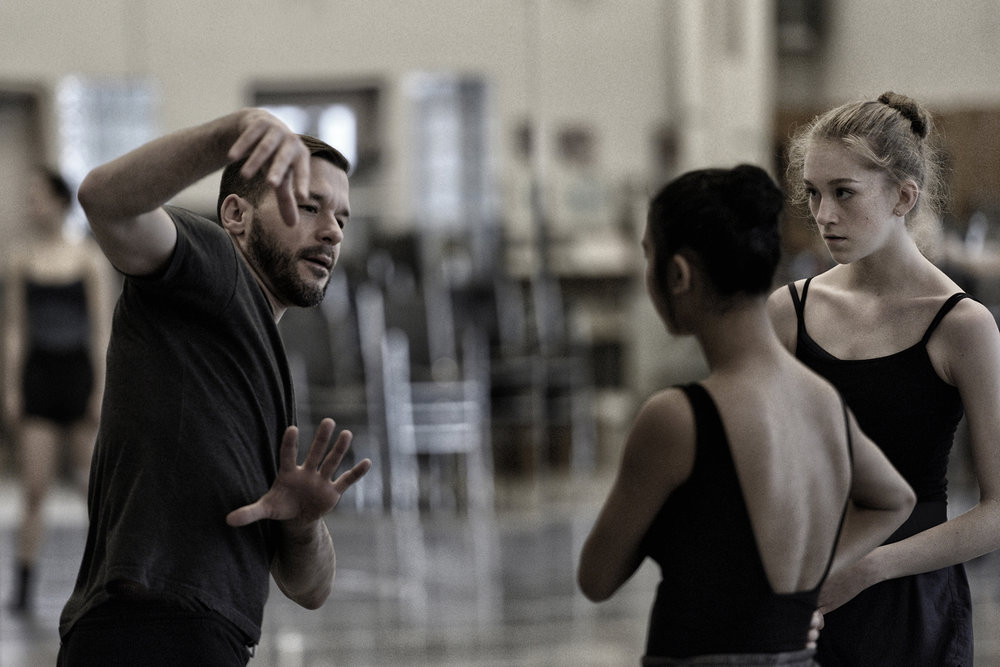 In rehearsal for a new work at Arts Umbrella (Vancouver) with Cordelia Pentland and Kiana Jung. Photo by Michael Slobodian, courtesy of Arts Umbrella.
