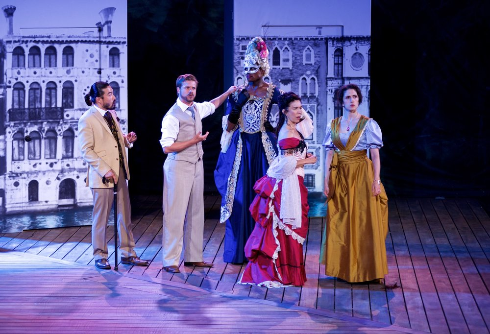 Sean Beak, Kyle Golemba, Christopher Allen,  Allegra Fulton, and  Dalal Badr,   in  The Comedy of Errors  (Canadian Stage – Shakespeare in High Park). Photo by Lyon Smith