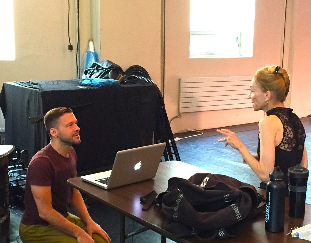 Discussion in rehearsal with Evelyn Hart for a new solo commissioned by Older & Reckless #40. Photo by Tyler Gledhill