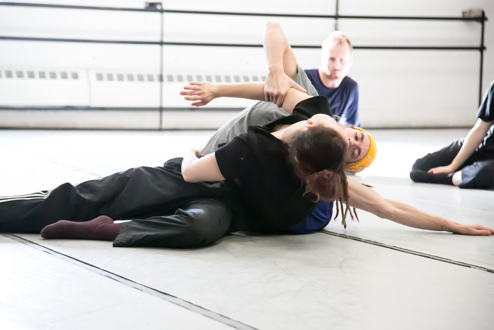 Christopher Valentini, Sasha Ludacivius and Ryan Lee in rehearsal for  Future Perfect Continuous  (ProArteDanza). Photo by  E.S. Cheah Photography