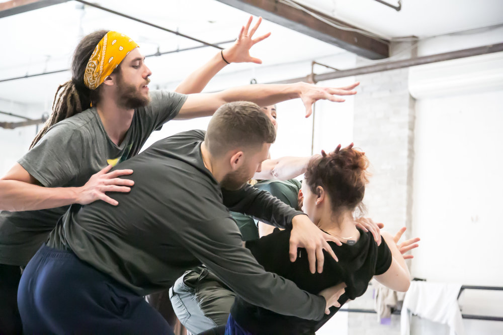Christopher Valentini, Ben Lansberg and Sasha Ludacivius in rehearsal for  Future Perfect Continuous  (ProArteDanza). Photo by  E.S. Cheah Photography