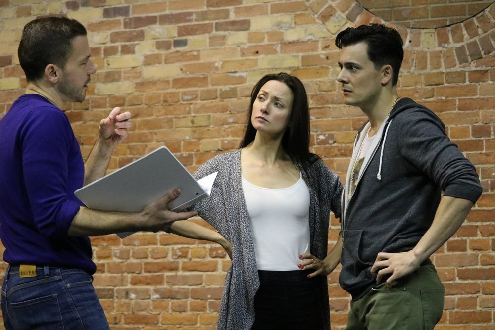 In rehearsal with Shannon Currie and Kelly Penner for  Troilus and Cressida  (Secret Shakespeare). Photo by Ellie Moon