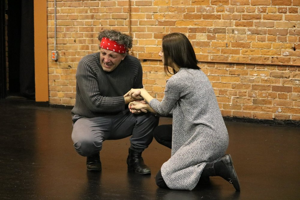 Ron Kennell and Shannon Currie in rehearsal for  Troilus and Cressida  (Secret Shakespeare). Photo by Ellie Moon