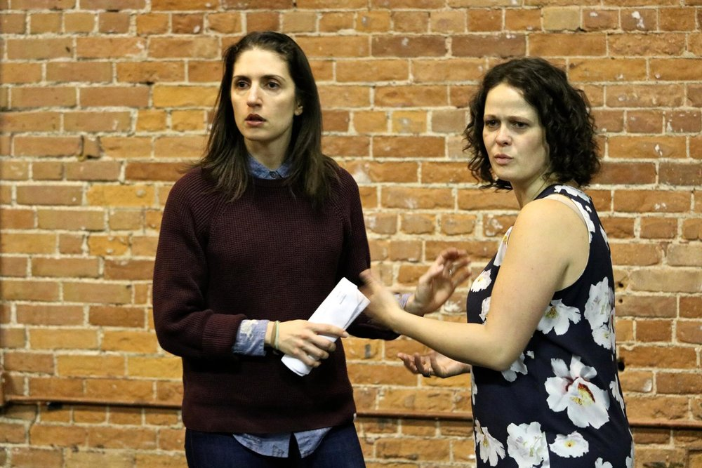 Dalal Badr and Claire Armstrong in rehearsal for  Troilus and Cressida  (Secret Shakespeare). Photo by Ellie Moon