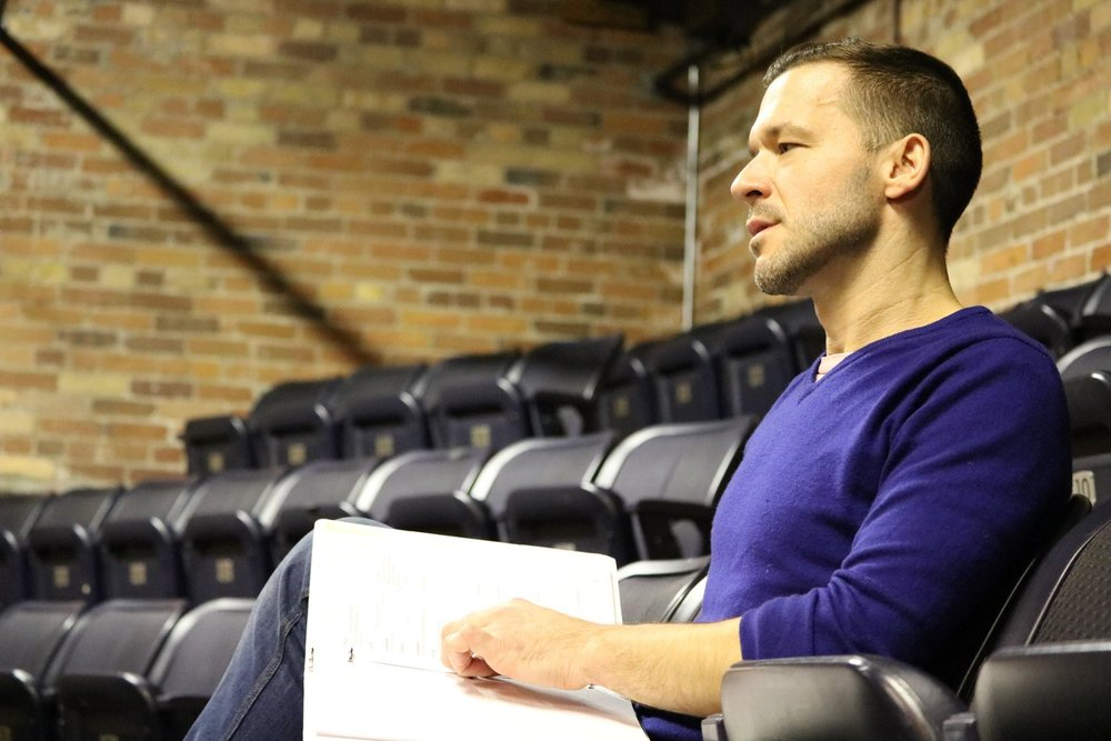 Matjash Mrozewski in rehearsal for  Troilus and Cressida  (Secret Shakespeare). Photo by Ellie Moon