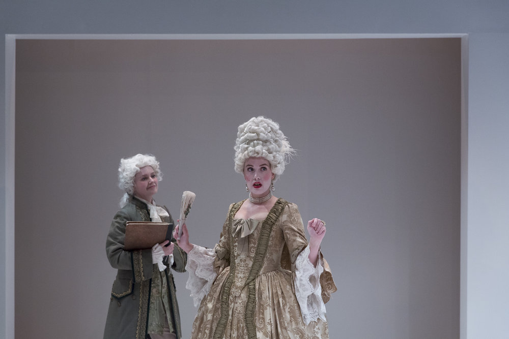 Rachel Moore and Bonnie Ings in  Candide  by Mark Ravenhill (George Brown Theatre). Photo by  Aleksandar Antonijevic