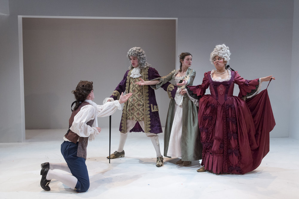 Andrew Cameron, Connor Lucas-Loan, Emma Nelles and Ruthie Nkut in  Candide  by Mark Ravenhill (George Brown Theatre). Photo by  Aleksandar Antonijevic