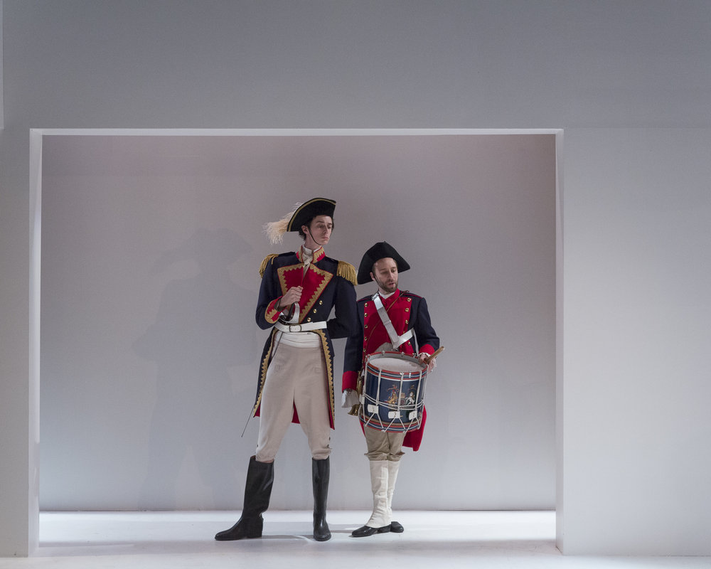 Nicholas Eddie and Jonas Trottier in  Candide  by Mark Ravenhill (George Brown Theatre). Photo by  Aleksandar Antonijevic