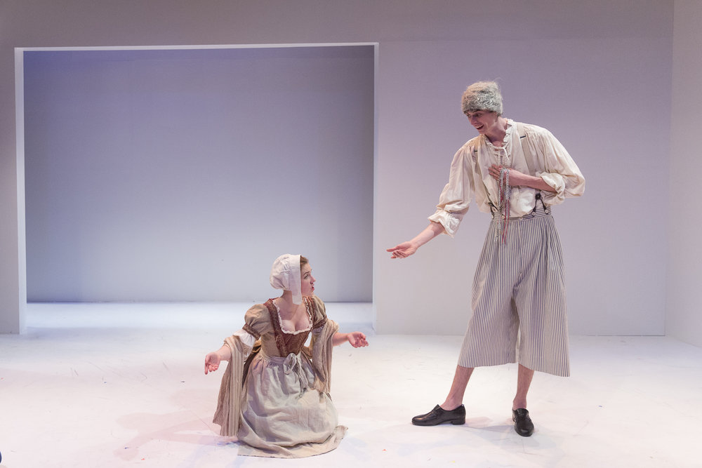 Louise Figliano and Nicholas Eddie in  Candide  by Mark Ravenhill (George Brown Theatre). Photo by  Aleksandar Antonijevic