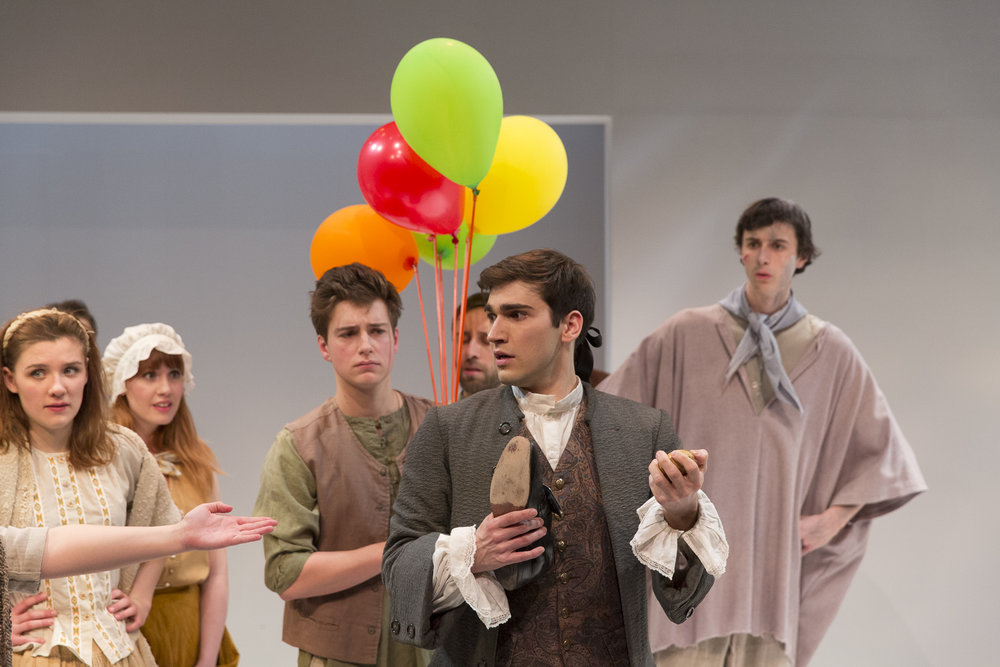 Louise Figliano, Bonnie Ings, Connor Lucas-Loan, Jonas Trottier, Ryan Taylor and Nicholas Eddie in  Candide  by Mark Ravenhill (George Brown Theatre). Photo by  Aleksandar Antonijevic