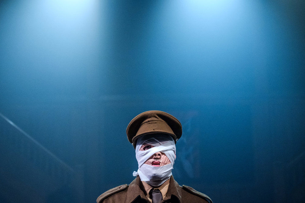 Justin P. Douglas in Wounds to the Face (Randolph College for the Performing Arts). Photo by Raph Nogal