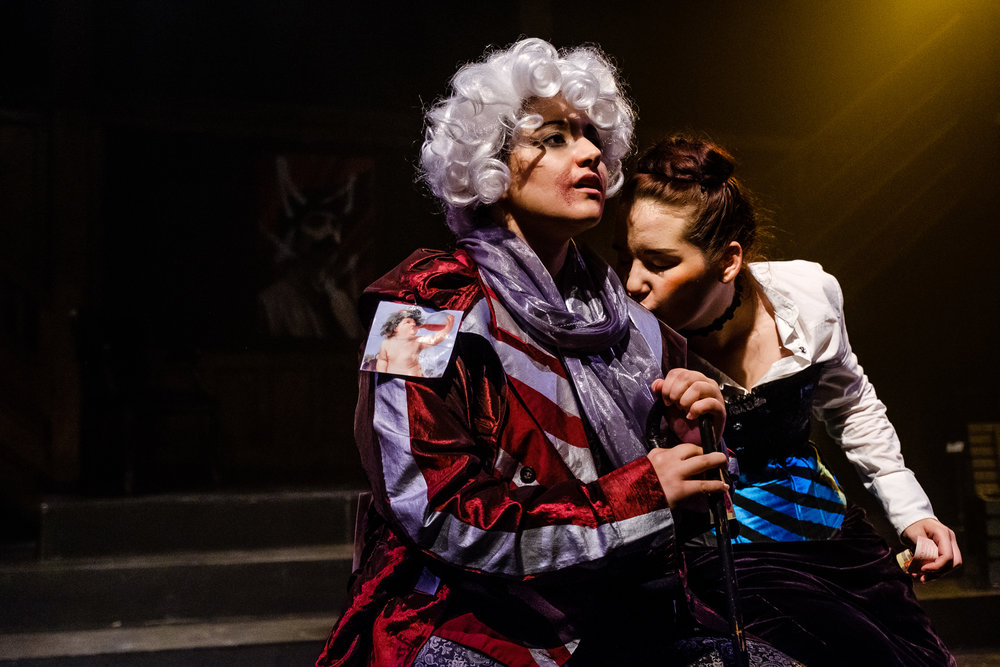 Angelica Bolognesi and Nikki Kuehnel in  Wounds to the Face  (Randolph College for the Performing Arts). Photo by  Raph Nogal