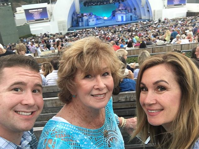 """Family night at the Hollywood Bowl! Here to support my amazing vocal teacher's sister, @dovecameron, in her Bowl debut as """"Sophie"""" in @mammamiamusical! @claire_hosterman we can't wait to sing along! 🤘🏽😁🎭 #MammaMia #HollywoodBowl #Sostoked"""