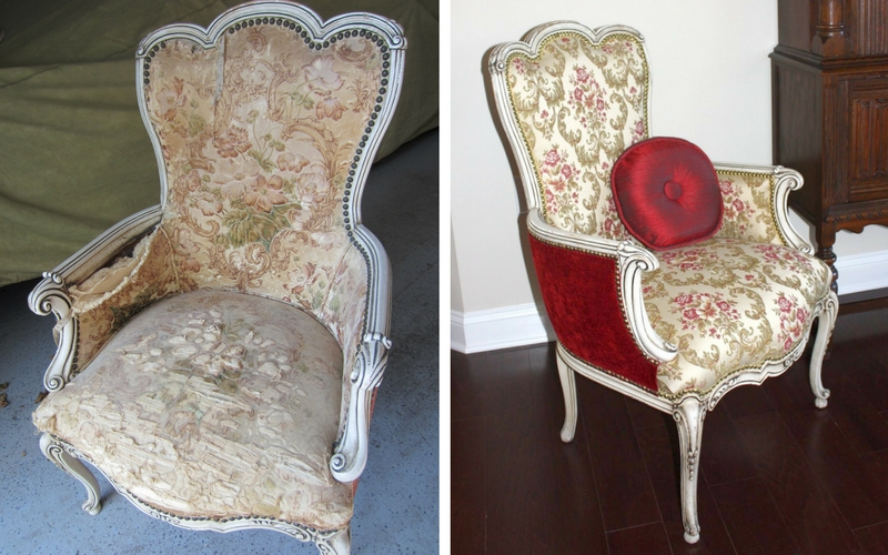 We discovered an antique chair in the clients' basement, which was slated to be discarded. Instead, we rescued and reupholstered it. The chair is now a stunning conversation piece in their new living space.