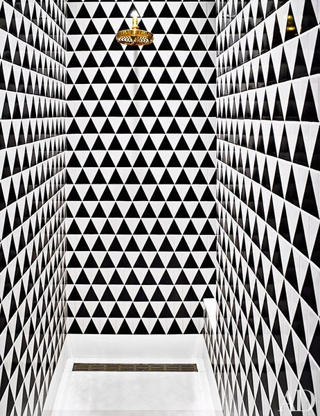Bold shower tiles via  Architectural Digest