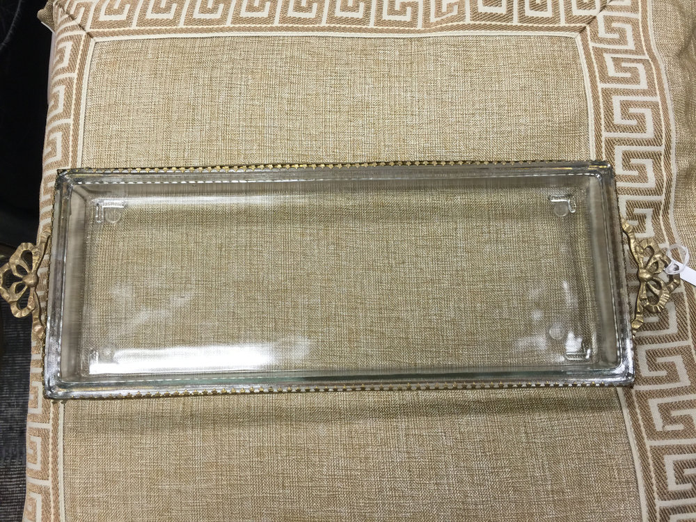 Details:  We found this gorgeous antique brass and glass tray in one of our favorite antique shops.