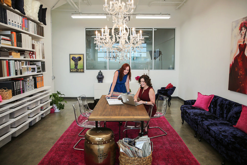 By Ella Design Group...The vintage chandelier we found adds some serious drama.